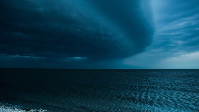 A view of Tuesday's storm moving in from Kitts Hummock.