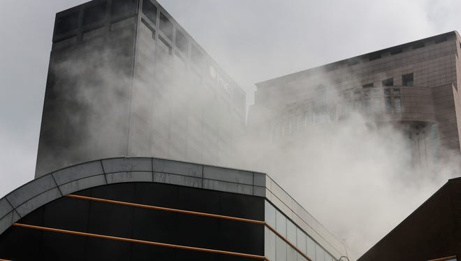 Firefighters respond to a fire at The Kentucky Center for teh Performing Arts in Louisville, KY on Wednesday, June 13, 2018.