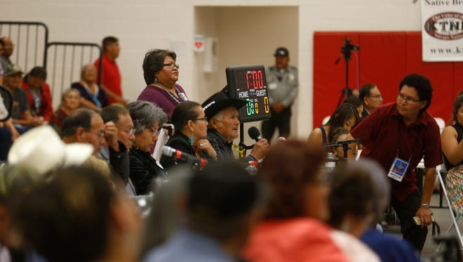 A forum panelist speaks Monday during a Navajo Nation presidential candidates forum at Navajo Technical University in Crownpoint.