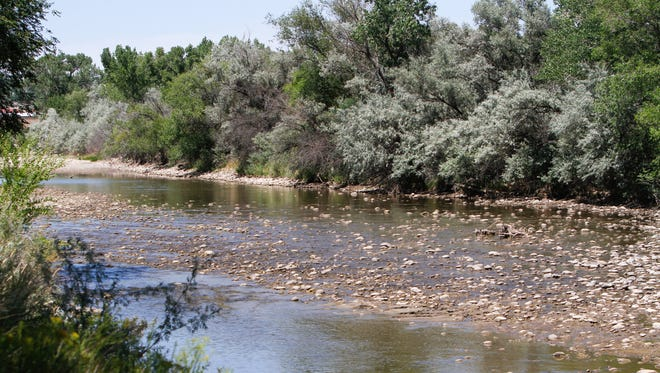 The Animas River was mostly dry at Boyd Park in Farmington on Saturday.