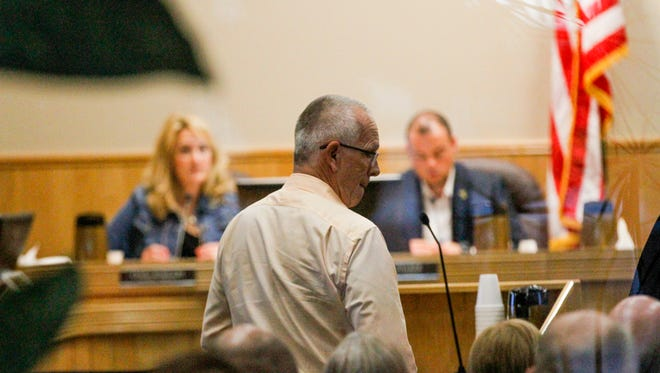 Mick Hesse, a member of the Connie Gotsch Arts Foundation board, talks about the organization's proposal to help fund the construction of an auditorium at the Farmington Museum at Gateway Park to members of the Farmington City Council on Oct. 9 in Farmington.