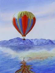 """Morning Ascent"" by Margaret Moebius is among the watercolor works in the group show at the Town of Esopus Library in Port Ewen through Oct. 31."