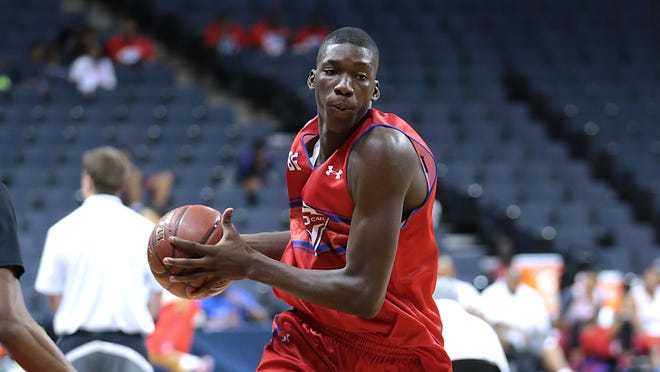Cheick Diallo drives to the basket during the 2014 NBPA Top 100 Camp in Charlottesville, Va.