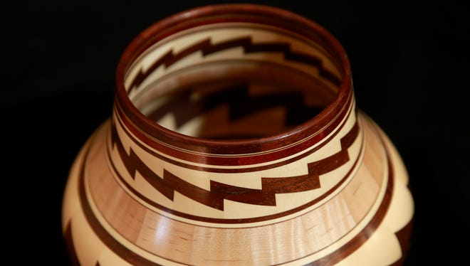 A segmented bowl made by Glen Crandall of Aztec is pictured Feb. 6 at the Artifacts Gallery.