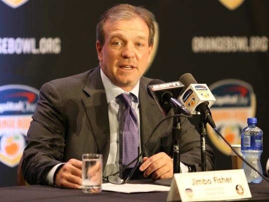 Florida State head coach Jimbo Fisher speaks to the