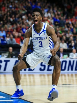 """Kentucky's Hamidou Diallo celebrates after a late second-half dunk against Buffalo that put an exclamation mark on the Wildcats win in Saturday's NCAA Regional game at Boise, Idaho. """"I'm still 19 years old,"""" he said. """"I'm still not my best. I'm just going to keep getting better year in and year out. I just can't wait to see what I am as a finished product."""" March 17, 2018"""