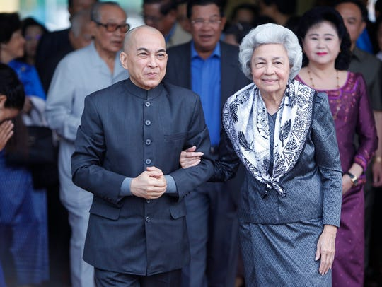 Cambodian King Norodom Sihamoni and Queen Mother Norodom