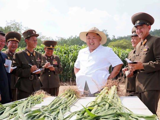 North Korean leader Kim Jong-Un  inspects farm No.