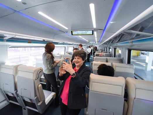 U.S. Congresswoman Lois Frankel takes a selfie aboard