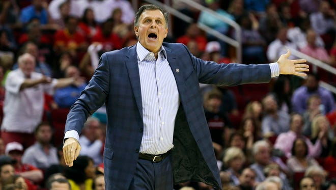Houston Rockets head coach Kevin McHale shouts at an official after a play during the fourth quarter against the Brooklyn Nets at Toyota Center.