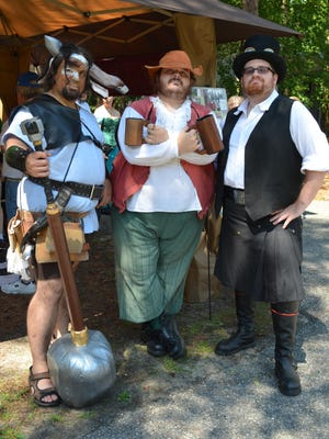 Jose Lugo of Woodbridge, Stephen Serra of Vineland and Jim Dimick of Sicklerville are pictured in costume during the Fantasy Faire at Wheaton Arts.