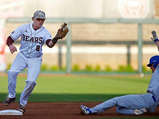 Missouri State Bears infielder Aaron Meyer (8) forces