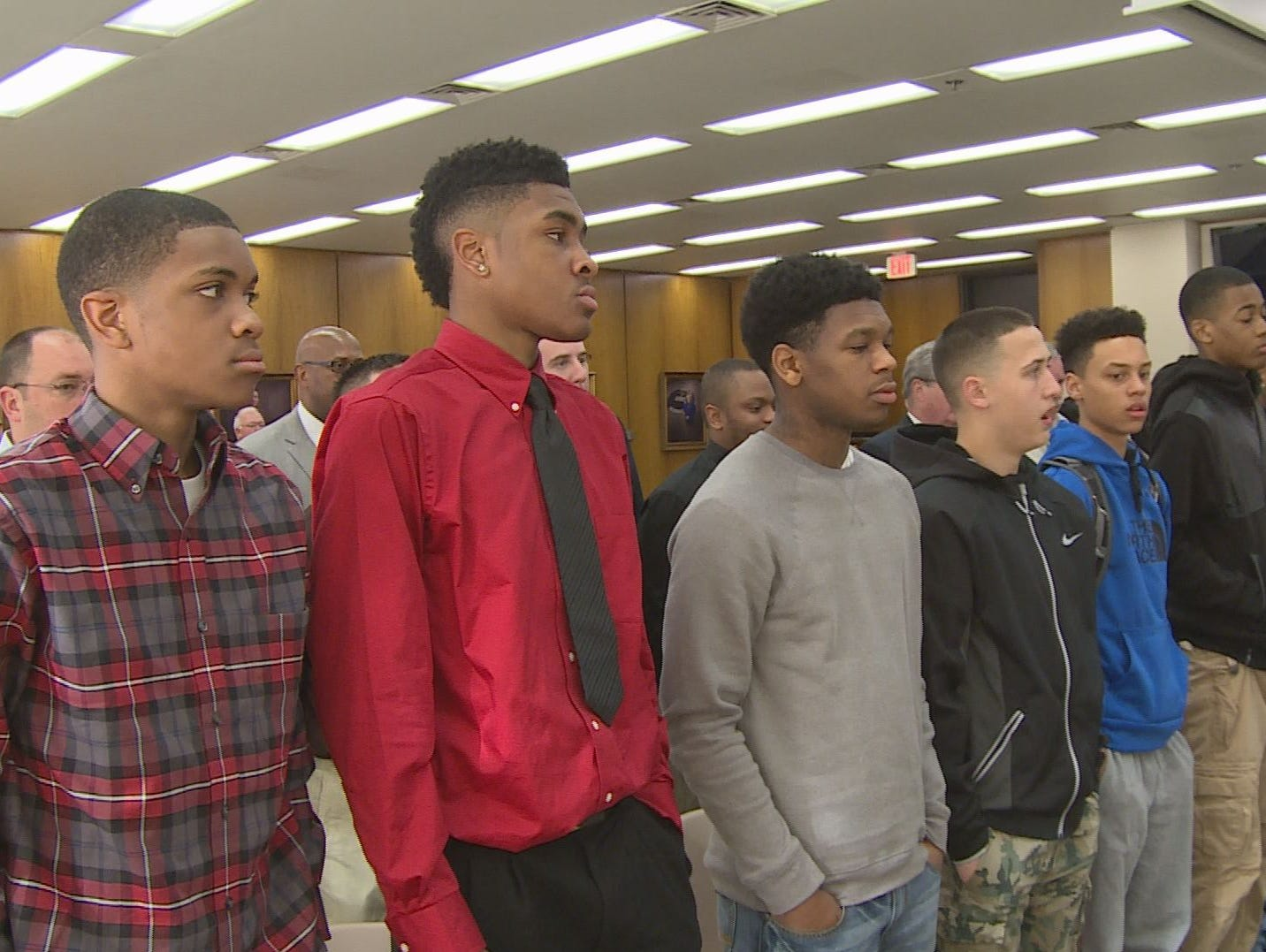 Godwin Heights basketball at Kent Co. Commission meeting - 5/14/15