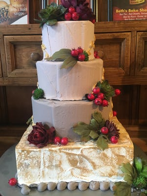 There are a variety of wedding cakes on display around the bakery and tearoom. Beth's Bake Shoppe & Tea Room has been in business since 1995.