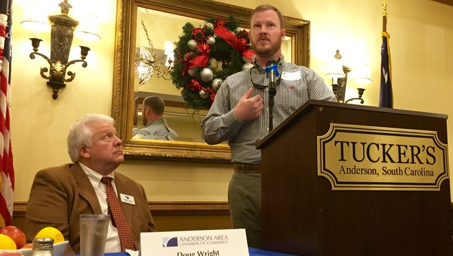 Anderson County Sheriff-elect Chad McBride gives Anderson Area Chamber of Commerce members an update on his incoming administration.