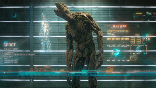 """FOR USA TODAY SUMMER MOVIE PREVIEW RUNNING 4/25/14 Groot (voiced by Vin Diesel) in a scene fem the motion picture """"Guardians Of The Galaxy."""" CREDIT: Marvel [Via MerlinFTP Drop]"""