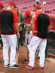 """Walter """"SuperBubz"""" Herbert, 6, gets to know the Cincinnati Reds before Thursday's game at Great American Ball Park."""