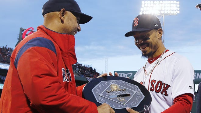 The MVP award given to Mookie Betts in 2018 includes the name and image of Kenesaw Mountain Landis.