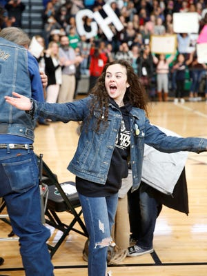 "Chevel Shepherd reacts to seeing a friendly face during a welcome home rally for ""The Voice"" winner on Dec. 22 at Farmington High School. The 16-year-old Shepherd became an overnight sensation with her winning performances on the NBC talent competition, earning a Universal Music Group recording contract and attracting a national following. She plans to begin working on her debut album in January with Kelly Clarkson, her coach on ""The Voice."""