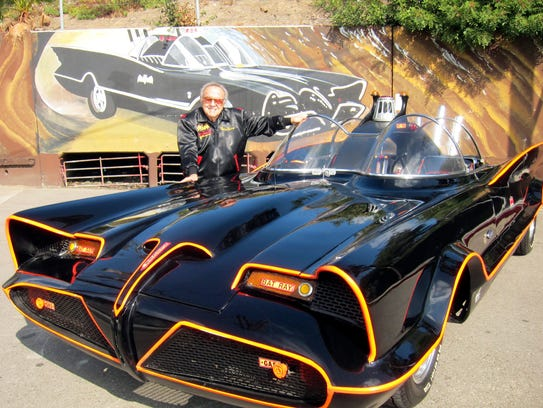 George Barris with original Batmobile before it was