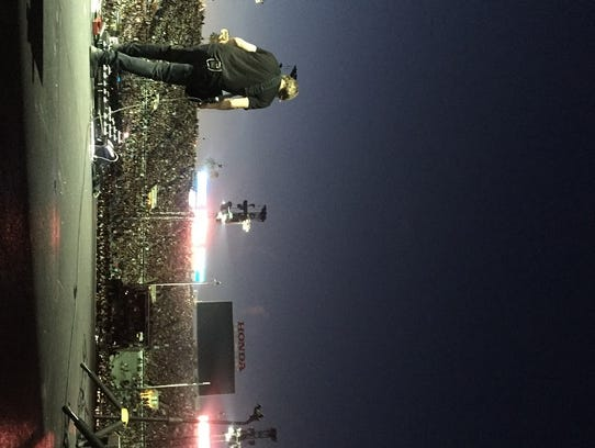 Dallas Schoo plays to a stadium of U2 fans during a