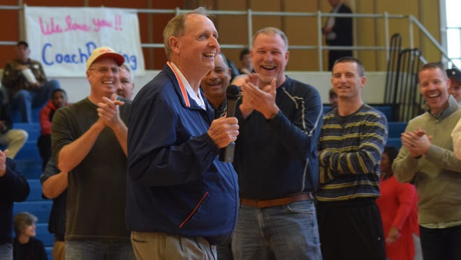 Gene Rushing, former men's basketball coach at Louisiana College, was honored during halftime of the LC Wildcats men's basketball game Saturday. Former players showed up to help honor him.