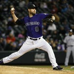 Colorado Rockies relief pitcher Adam Ottavino throws against the San Diego Padres during the eighth inning of a baseball game in April in Denver.