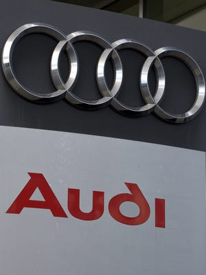 File photo taken in 2015 shows a view of the Audi auto logo at a dealership in Woodland Hills, California.