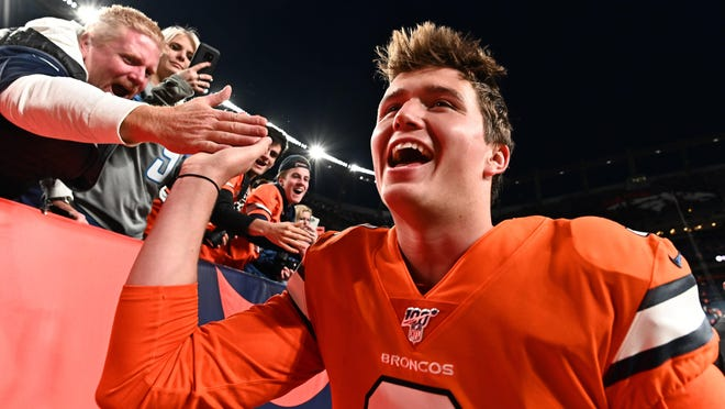 Denver Broncos quarterback Drew Lock (3) celebrates with fans following a win against Detroit last December. Lock, the former Missouri star and a Lee's Summit High School graduate, could be one of the second-year players to have a breakout season in the NFL this fall.