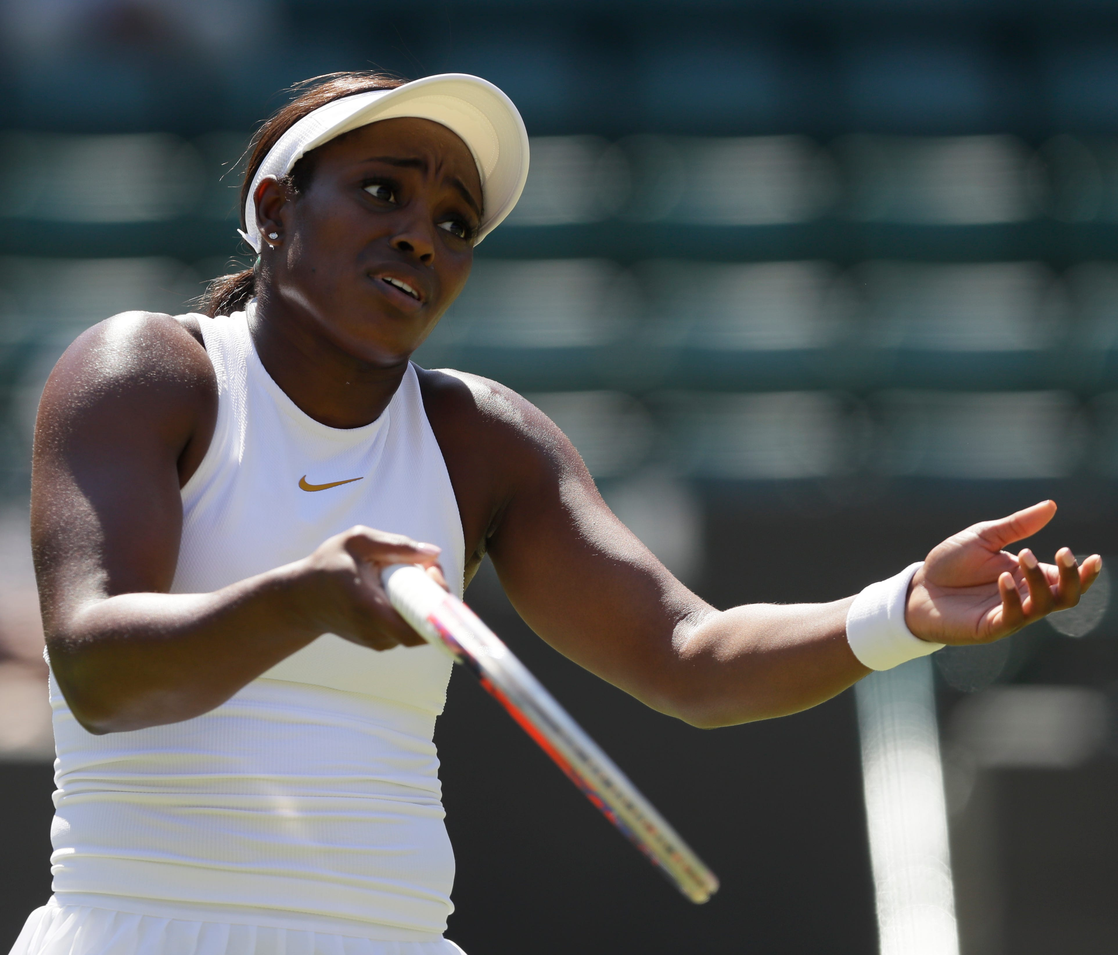Sloane Stephens reacts after a point during her first-round loss to Donna Vekic.