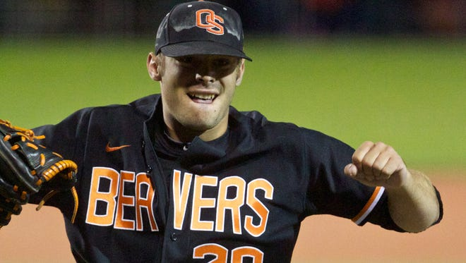 June 10, 2013; Corvallis, OR, USA; Oregon State Beavers pitcher Ben Wetzler (28) reacts in the 7th inning of the Corvallis Super Regional against the Kansas State Wildcats at Goss Stadium.  Mandatory Credit: Jaime Valdez-USA TODAY Sports