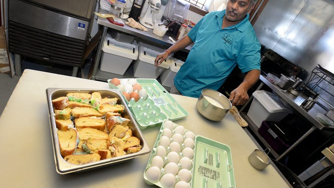 (Top left photo) Sopan Tike prepares the ingredients for king cake bread pudding at Lilah's Bakery.