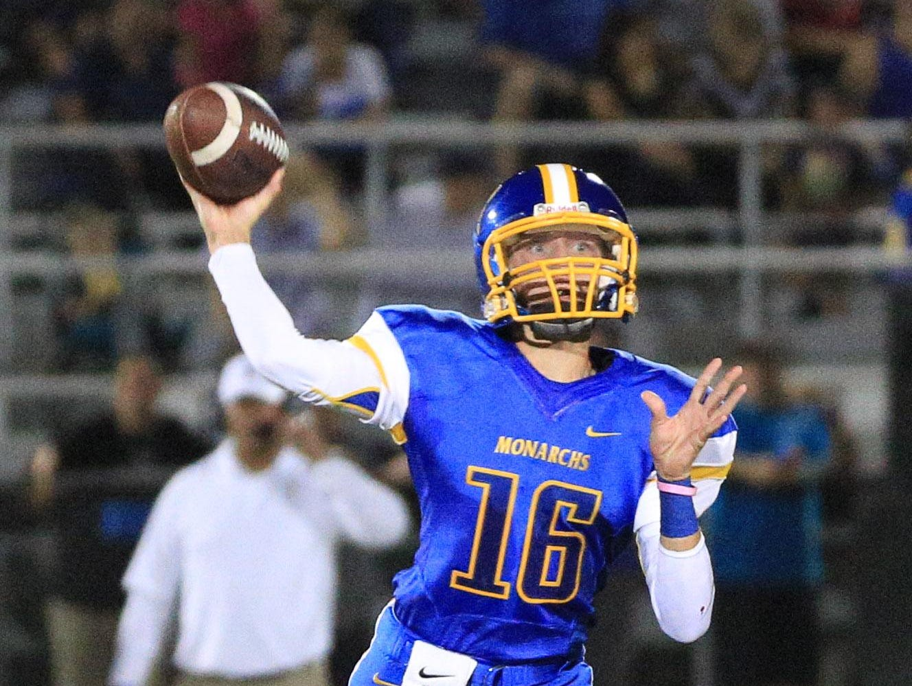 Freshman quarterback Alec Trujillo led Exeter to a 41-24 win over Mission Oak on Friday.