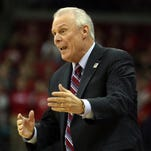 Nov 25, 2015; Madison, WI, USA; Wisconsin Badgers head coach Bo Ryan  reacts to a referee call during the game with the Prairie View A&M Panthers at the Kohl Center. Wisconsin defeated Prairie View A&M 85-67.  Mandatory Credit: Mary Langenfeld-USA TODAY Sports