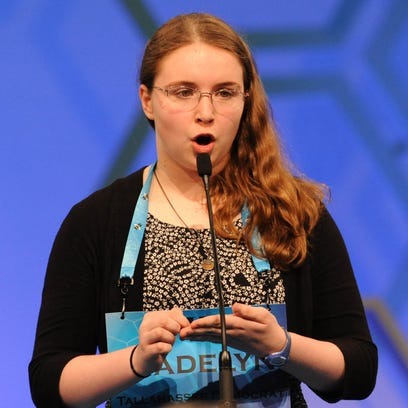 Madelyn Almond, 13, of Cantonment, spells the word