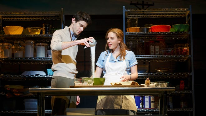 Jessie Mueller, right, and Drew Gehling play a small-town waitress and a doctor in the new Broadway musical 'Waitress.'