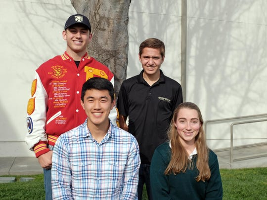 From left, seniors Liam McMillin, Joshua Rhee, Matthew Gastello and Gabrielle Milanesa have been accepted to attend the U.S. Military Academy at West Point in the fall.