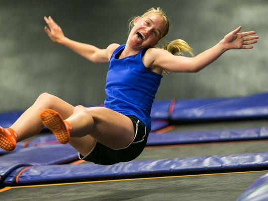 Shannon Murphy of Jamestown, NY has fun in the trampoline fitness class at Sky Zone in Newark.