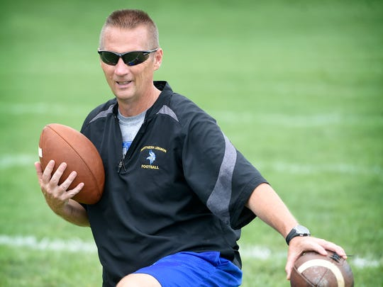 Northern Lebanon head coach Roy Wall keeps a watchful eye on a drill during a recent practice.