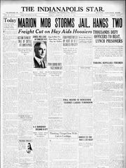Indianapolis Star front page details the Marion lynching in 1930.