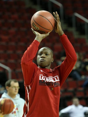 U of L's Terry Rozier, #0, shoots during practice at the KeyArena in Seattle ahead of their matchup with UC Irvine in the second round of the NCAA tournament.