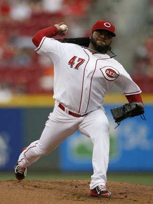 Reds starting pitcher Johnny Cueto delivers a pitch against the Tigers on June 17.