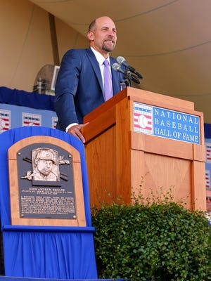John Smoltz gives his Hall of Fame induction speech on Sunday.