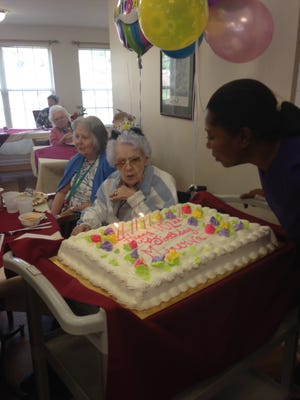 "Minerva Steelman, a longtime resident at the Maurice House Assisted Living Community in Millville, celebrated her 102 birthday on Nov 14. She was surrounded by all of those who love and care for her at the family owned community. She is a very sweet lady and was overheard saying she ""had a lovely day!"" (From left) Betty Shoemaker, Janet Dobrosky, Minerva Steelman and her caregiver Sheila Hooks are pictured at the celebration."