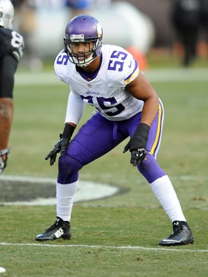 Minnesota Vikings linebacker (55) Anthony Barr prepares for action during the Nov. 15 game against the Oakland Raiders played at O.co Coliseum in Oakland, California.