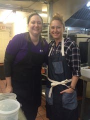 """Purple Room executive chef Jenn Town on left with Foodie Tuesday guest chef Brooke Williamson of """"Top Chef"""" fame prep for service."""