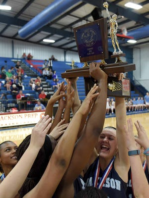 The JA Lady Raiders celebrate their MAIS Class AAAA state championship win over Prep on Saturday, February 20, 2016, at Jackson Prep in Flowood, Miss.