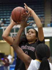 Choctaw Central's Kaedre Denson (4) shoots a jumper