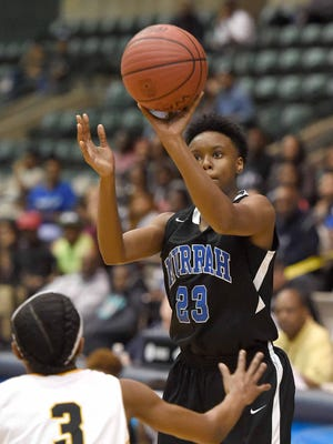 Murrah's Nya Irvin shoots a 3-pointer against Starkville in the Class 6A semifinals on Wednesday at Mississippi Coliseum. Irvin scored a team-high 13 points off the bench as Murrah rallied for a 44-42 win.