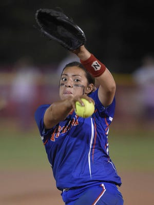 Neshoba Central pitcher Aspen Wesley winds up to throw to the plate on Thursday, May 12, 2016, the first day of the 2016 MHSAA Fast-Ptich Softball State Championships at Freedom Ridge Park in Ridgeland, Miss.
